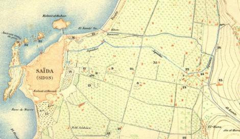 جزء من الخريطة الي رسمها إرنست رينان في 1860، وتظهر مسار القناة المرفوعة/رفيعة من قناة الخاسكية عبر بساتين الوسطاني وصولا إلى البلدة القديمة